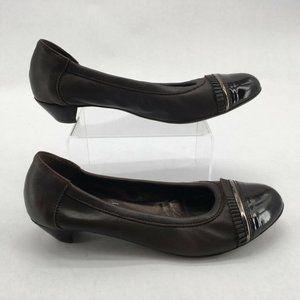 AGL Womens Ballet Pump Shoes Brown Cap Toe Cuban H